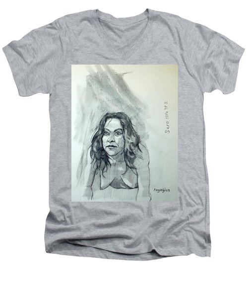 Men's V-Neck T-Shirt featuring the painting Sketch For Sera.10.01 by Ray Agius