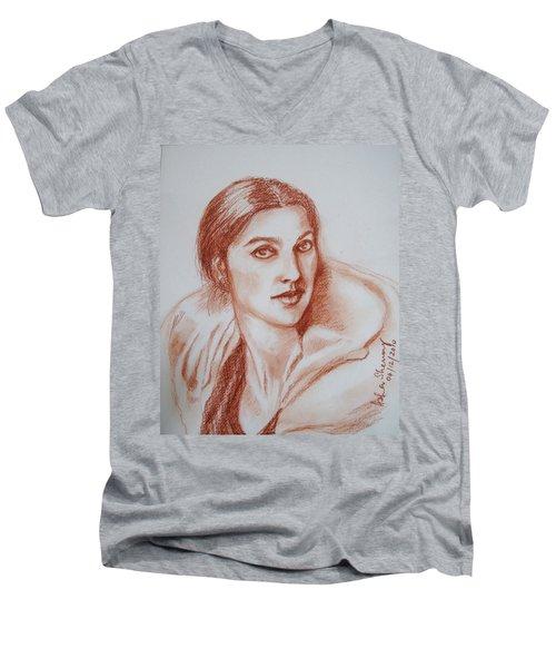 Sketch In Conte Crayon Men's V-Neck T-Shirt