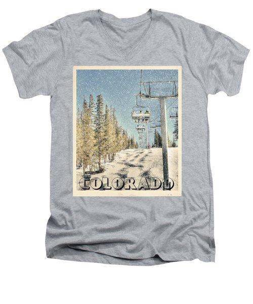 Ski Colorado Men's V-Neck T-Shirt by Juli Scalzi