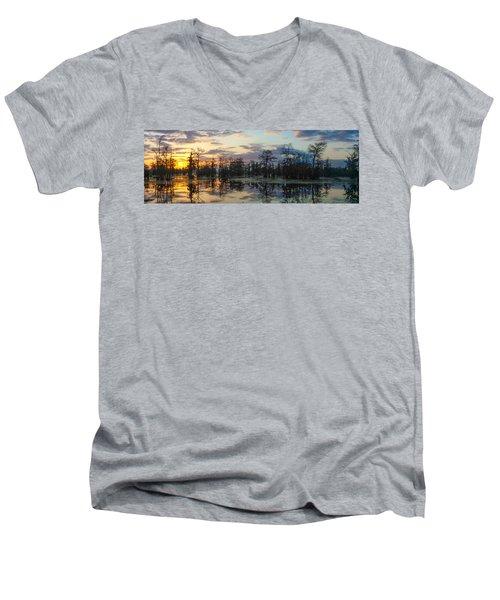 Skies Across The North End Men's V-Neck T-Shirt by Kimo Fernandez