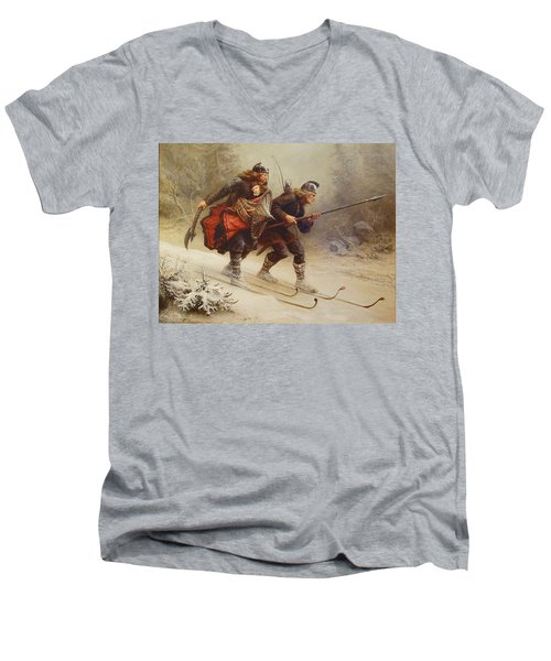 Skiing Birchlegs Crossing The Mountain With The Royal Child Men's V-Neck T-Shirt
