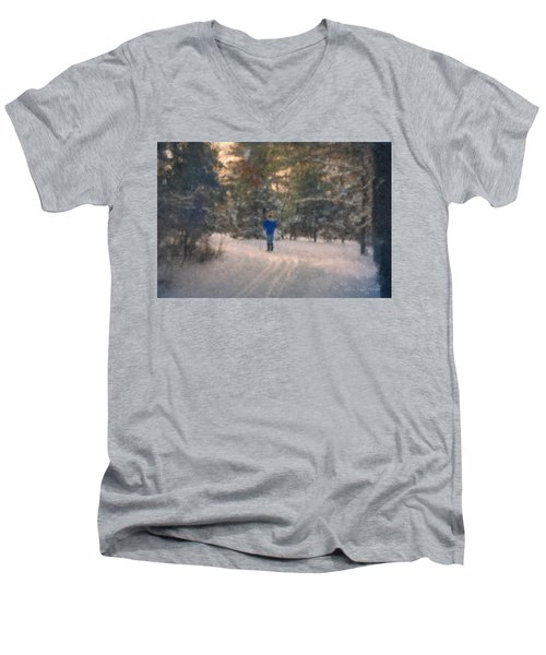 Skiing Borderland In Afternoon Light Men's V-Neck T-Shirt