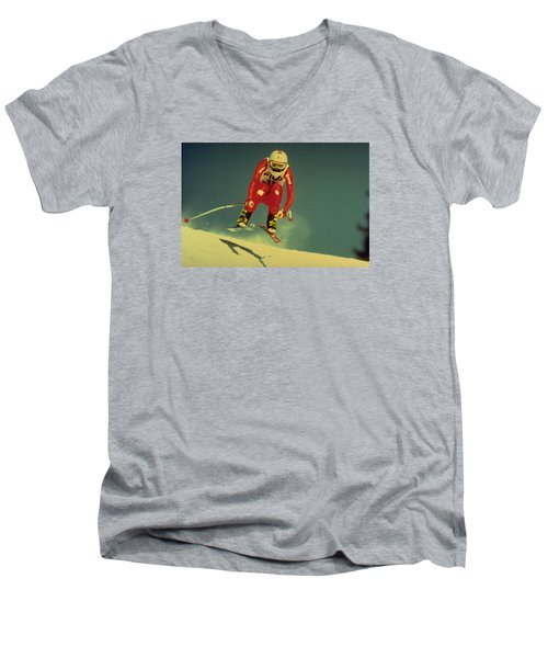 Skiing In Crans Montana Men's V-Neck T-Shirt by Travel Pics