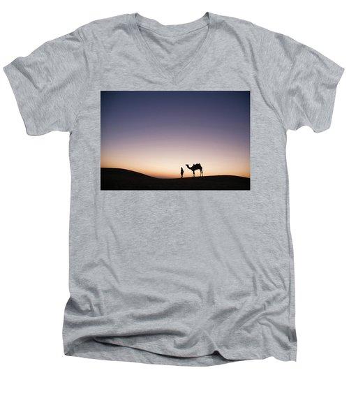 Skn 0860 Dawn At The Dunes Men's V-Neck T-Shirt by Sunil Kapadia