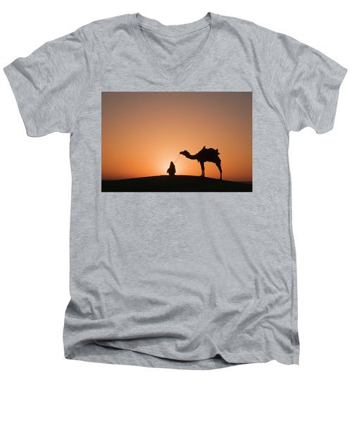 Skn 0893 The Halo Of Sunrise Men's V-Neck T-Shirt by Sunil Kapadia