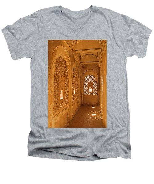 Skn 1241 Carved Niche Men's V-Neck T-Shirt by Sunil Kapadia
