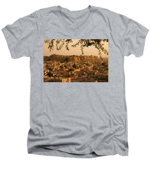 Skn 1334 The Golden City Men's V-Neck T-Shirt by Sunil Kapadia