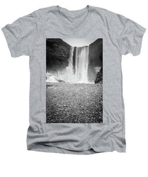 Skogafoss In Winter Men's V-Neck T-Shirt
