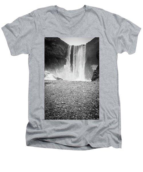 Skogafoss In Winter Men's V-Neck T-Shirt