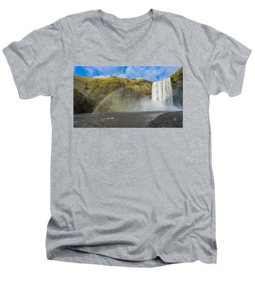 Skogafoss Rainbow Men's V-Neck T-Shirt