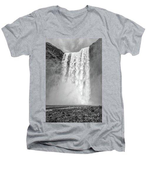 Men's V-Neck T-Shirt featuring the photograph Skogafoss Waterfall Iceland by Edward Fielding