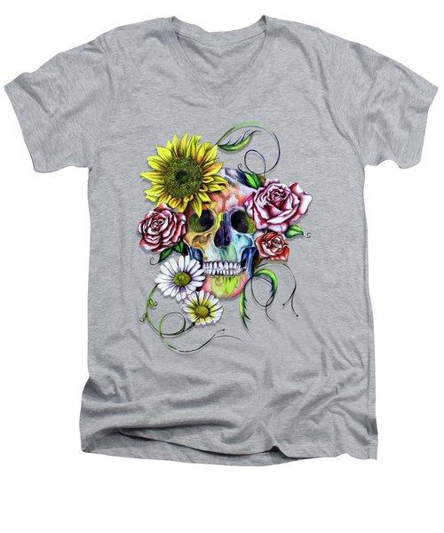 Skull And Flowers Men's V-Neck T-Shirt by Isabel Salvador
