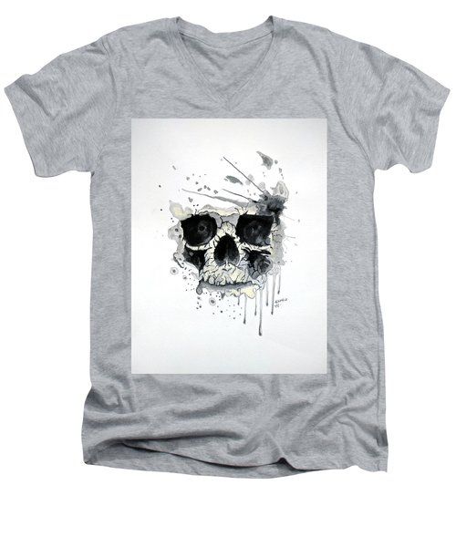 Men's V-Neck T-Shirt featuring the painting Skull by Edwin Alverio