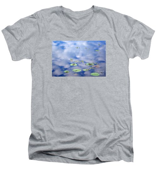 Men's V-Neck T-Shirt featuring the photograph Sky And The Lily Pads by Lila Fisher-Wenzel