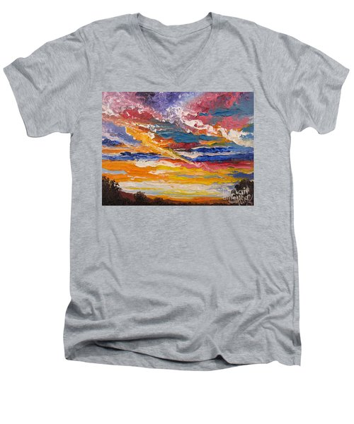 Men's V-Neck T-Shirt featuring the painting Sky In The Morning by Sigrid Tune