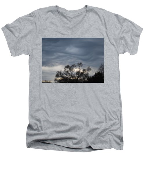Men's V-Neck T-Shirt featuring the photograph Sky Of Ribbons by Ramona Whiteaker