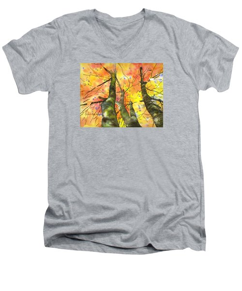 Men's V-Neck T-Shirt featuring the painting Sky View by Yolanda Koh