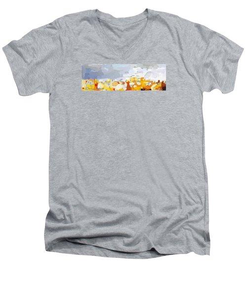 Skyline Cambridge, Uk Men's V-Neck T-Shirt by Melissa Abbott
