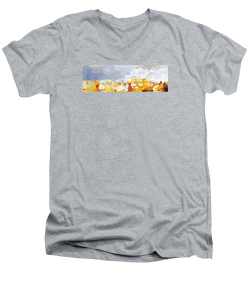 Skyline Cambridge, Uk Men's V-Neck T-Shirt