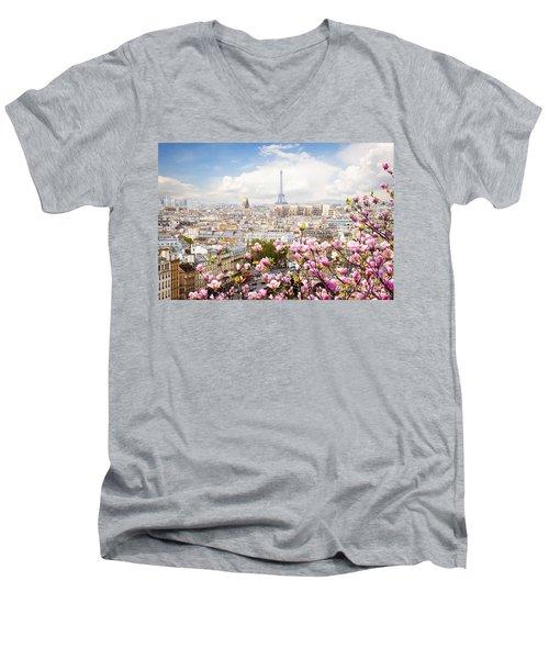 skyline of Paris with eiffel tower Men's V-Neck T-Shirt