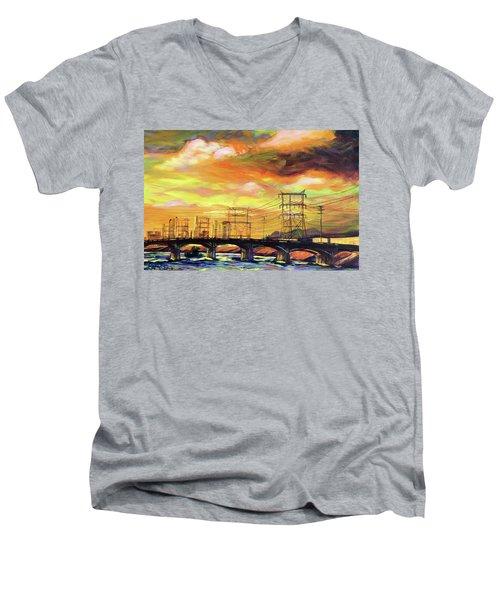 Skylines Men's V-Neck T-Shirt by Bonnie Lambert
