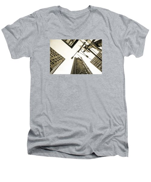 Skyscrapers In New York Seen From Men's V-Neck T-Shirt