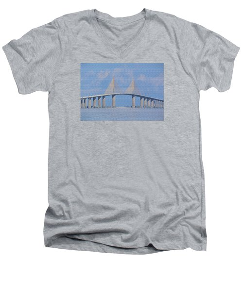 Men's V-Neck T-Shirt featuring the photograph Skyway Bridge by Rosalie Scanlon