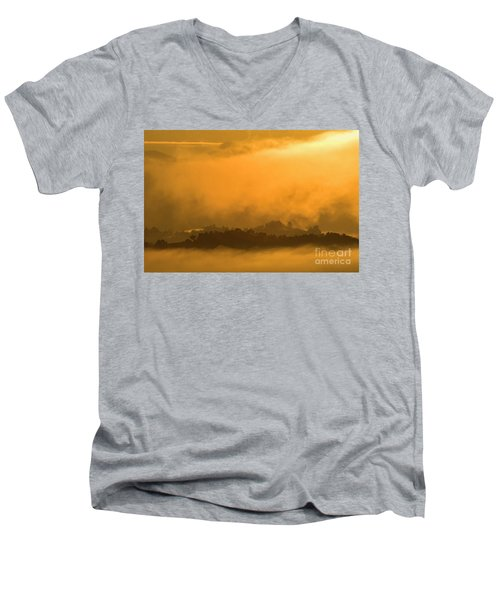 Men's V-Neck T-Shirt featuring the photograph sland in the Mist - D009994 by Daniel Dempster