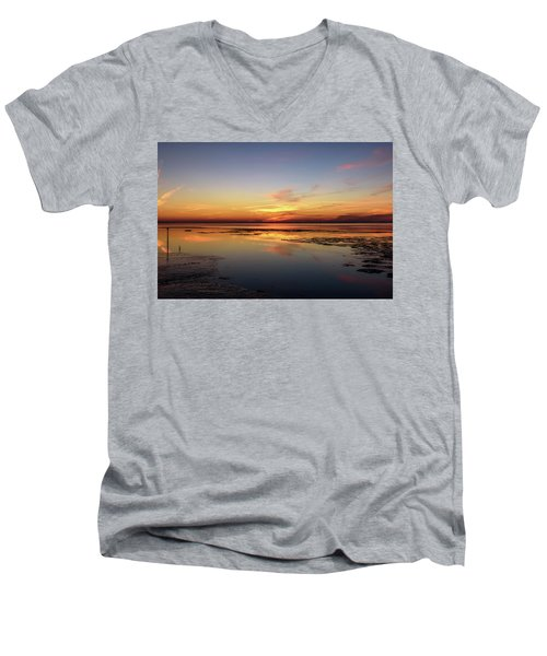 Men's V-Neck T-Shirt featuring the photograph Touching The Golden Cloud by Thierry Bouriat