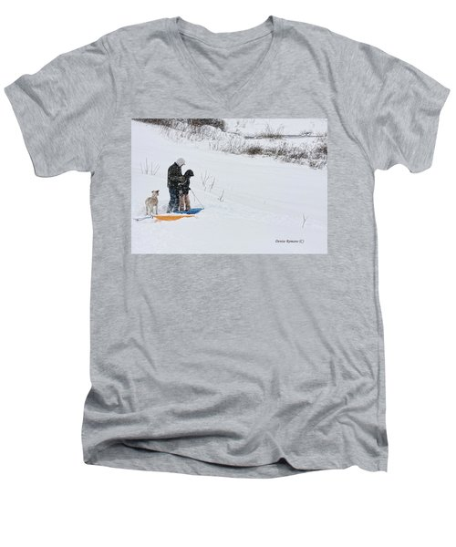 Men's V-Neck T-Shirt featuring the photograph Sledding by Denise Romano