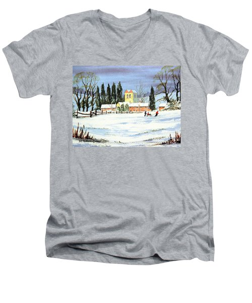 Men's V-Neck T-Shirt featuring the painting Sledding With Dad by Bill Holkham