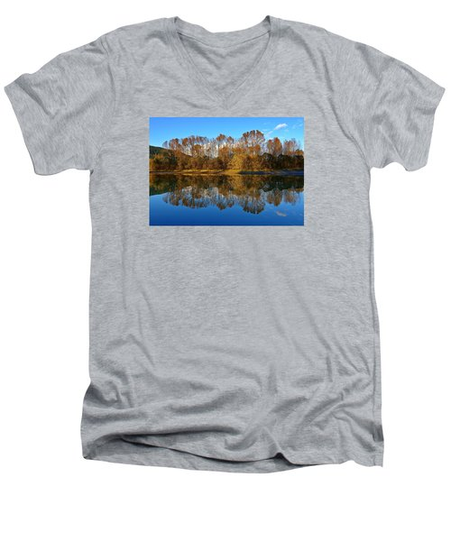 Fraser River Arm  Men's V-Neck T-Shirt by Heather Vopni