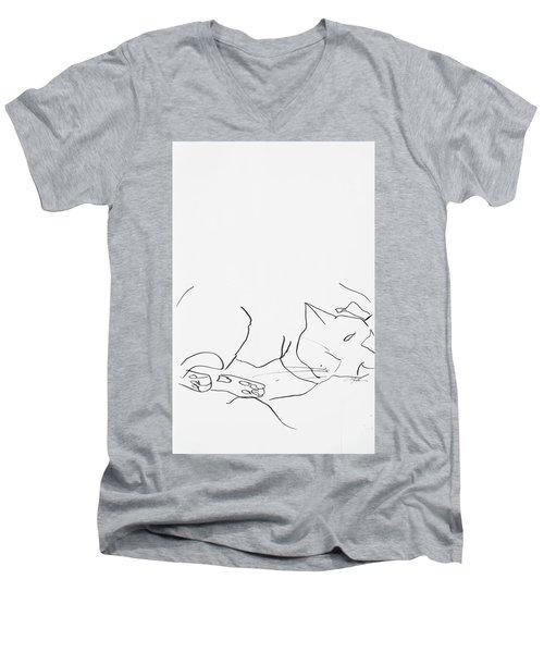 Sleeping Cat II Men's V-Neck T-Shirt