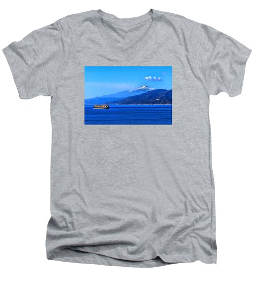 Sleeping Giant Men's V-Neck T-Shirt by Laura Ragland