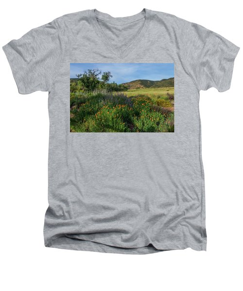 Sleeping Poppies, Mission Trails Men's V-Neck T-Shirt