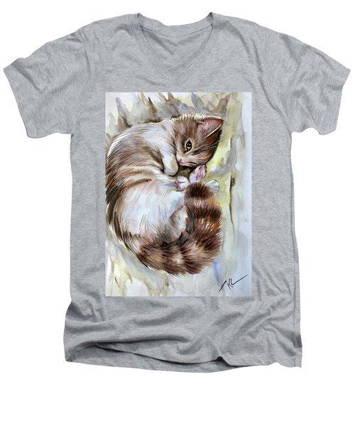 Sleepy Cat 2 Men's V-Neck T-Shirt