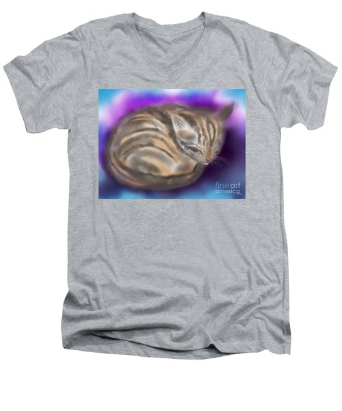 Men's V-Neck T-Shirt featuring the painting Sleepy Sam by Nick Gustafson