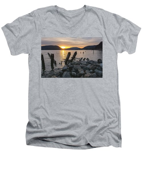 Sleepy Waterfront Dream Men's V-Neck T-Shirt by Angelo Marcialis