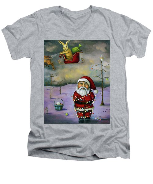 Sleigh Jacker Men's V-Neck T-Shirt by Leah Saulnier The Painting Maniac