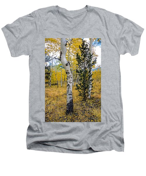 Slightly Crooked Aspen Tree In Fall Colors, Colorado Men's V-Neck T-Shirt