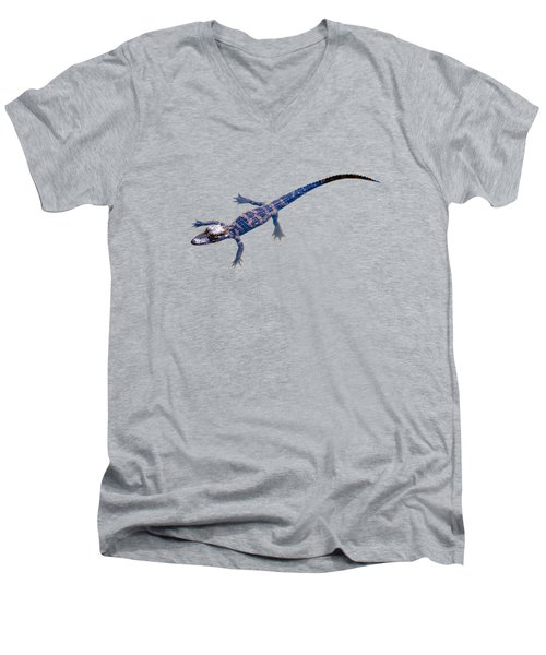 Slightly Waving A Tail. Alligator Baby Men's V-Neck T-Shirt by Zina Stromberg