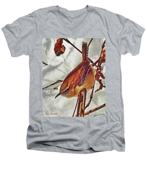 Slim Pickens, Carolina Wren Men's V-Neck T-Shirt by Ken Everett