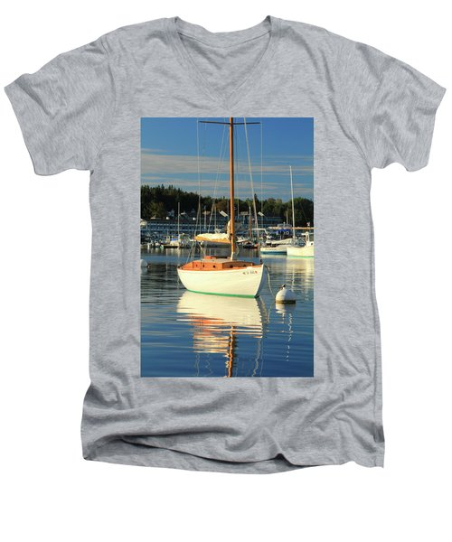 Men's V-Neck T-Shirt featuring the photograph Sloop Reflections by Roupen  Baker