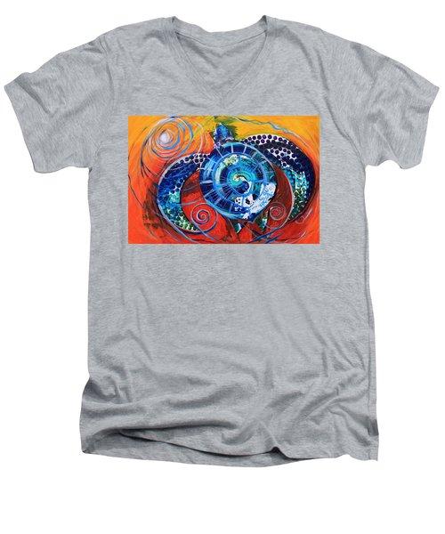 Slopical Tropical Sea Turtle Men's V-Neck T-Shirt