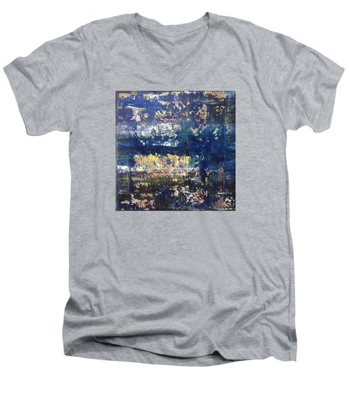 Small Blue Men's V-Neck T-Shirt