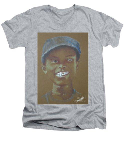 Small Boy, Big Grin -- Retro Portrait Of Black Boy Men's V-Neck T-Shirt