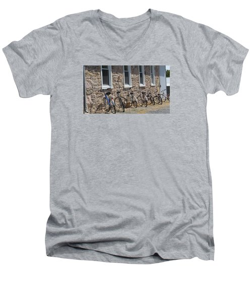 Small Country School Men's V-Neck T-Shirt by Jeanette Oberholtzer