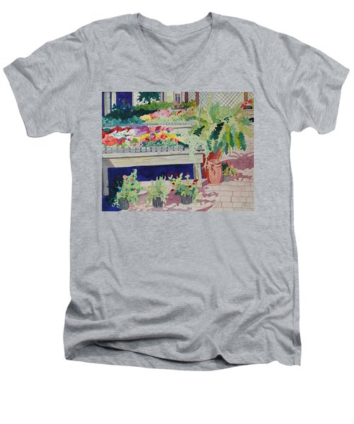 Small Garden Scene Men's V-Neck T-Shirt