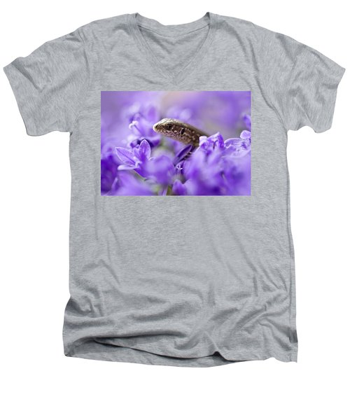 Small Lizard Men's V-Neck T-Shirt by Jaroslaw Blaminsky