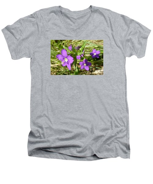 Men's V-Neck T-Shirt featuring the photograph Small Mauve Flowers by Jean Bernard Roussilhe
